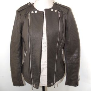 BCBGMAXARIA Black HUNTER Leather Cropped Motorcycl